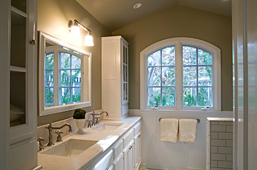 Hall Bathroom Has Large Shower Marble Countertops And Two Sinks